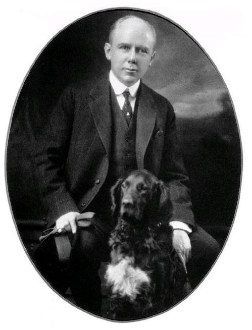 "Maine Governor Baxter with ""Garry Owen."""
