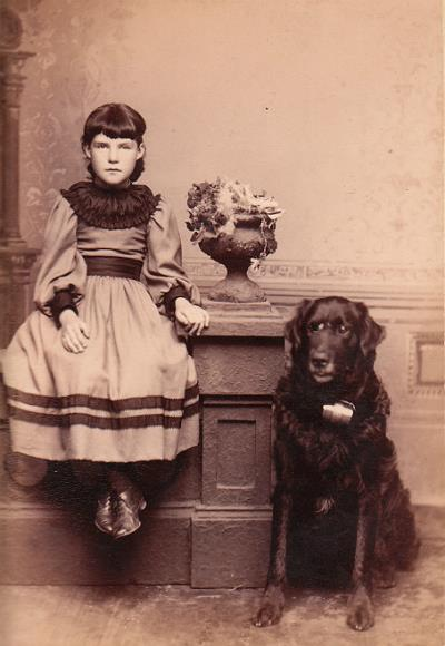 girl with Newfoundland dog Philadelphia