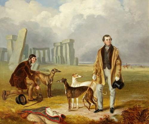 Mullock, James Flewitt, 1818-1892; Charles Randell with Greyhounds at Stonehenge